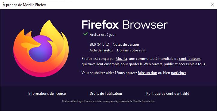 Mozilla Firefox version 89 A propos