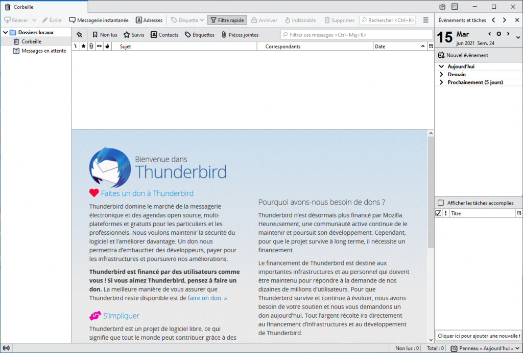 Mozilla Thunderbird version 78.11 interface claire