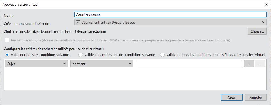 Thunderbird dossier virtuel