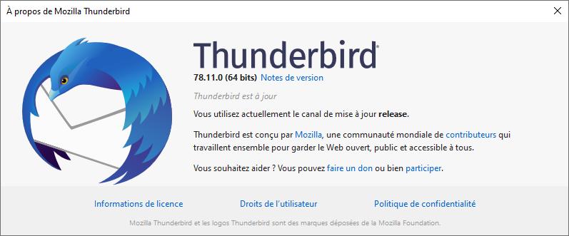 Mozilla Thunderbird version 78.11 A propos
