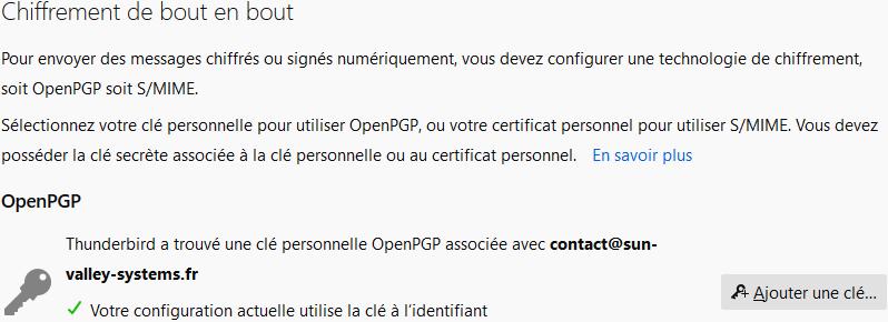 Mozilla Thunderbird version 78.11 OpenPGP