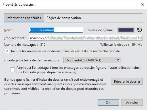 Mozilla Thunderbird version 78.11 Propriétés